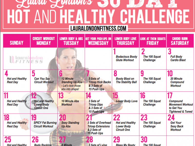 30 Day Workout calendar