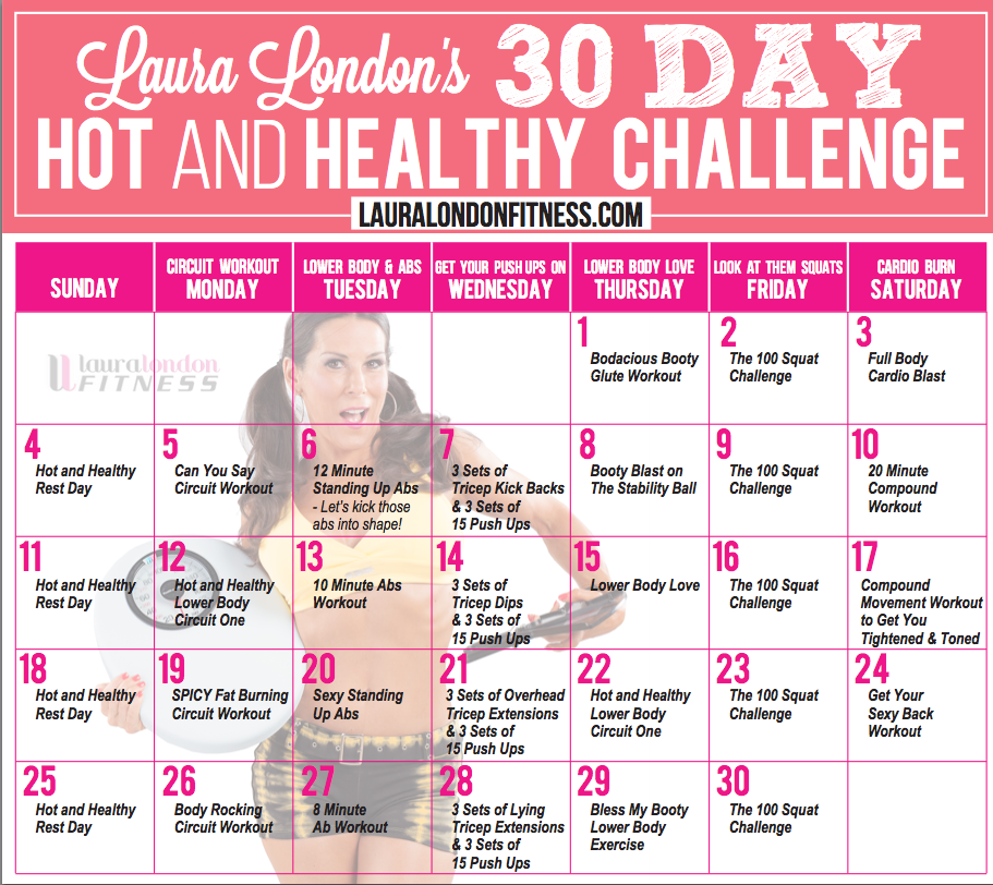 30 day workout calendar laura london. Black Bedroom Furniture Sets. Home Design Ideas