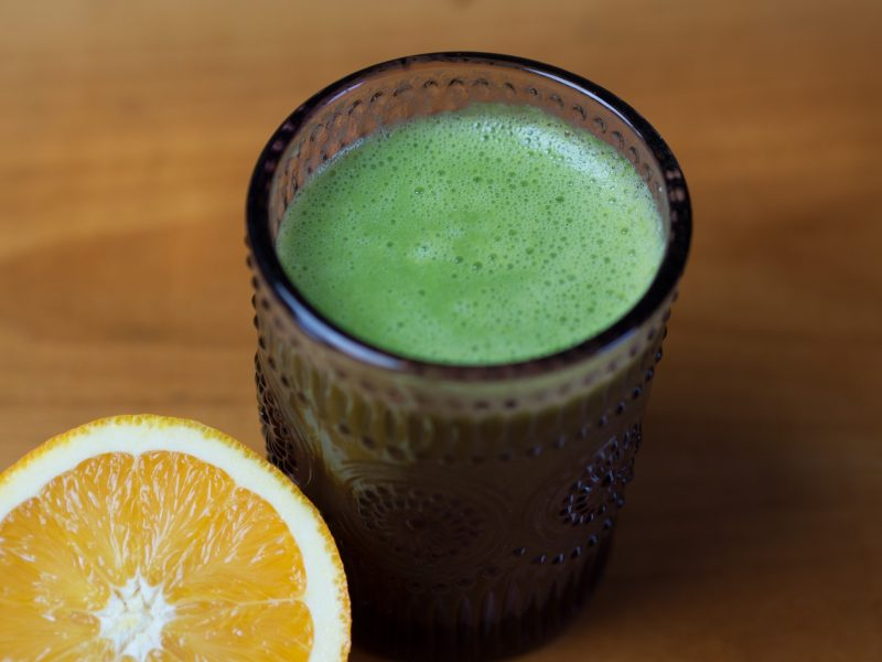 Green Smoothie With a Touch of Orange
